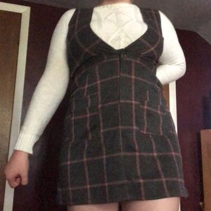 Gray and Pink Plaid School-girl dress